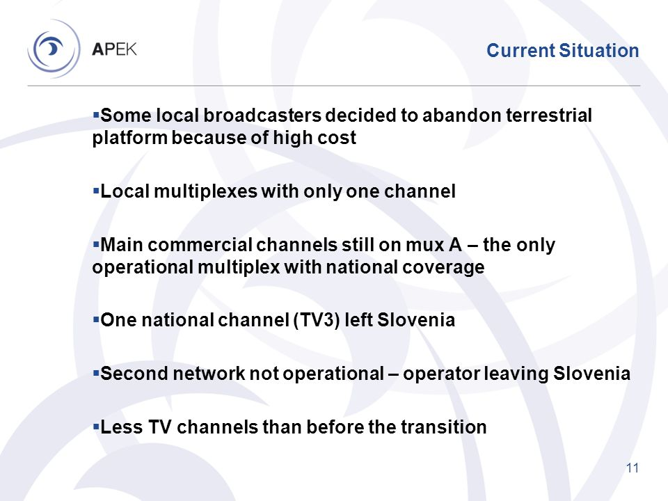 Current Situation Some local broadcasters decided to abandon terrestrial platform because of high cost.