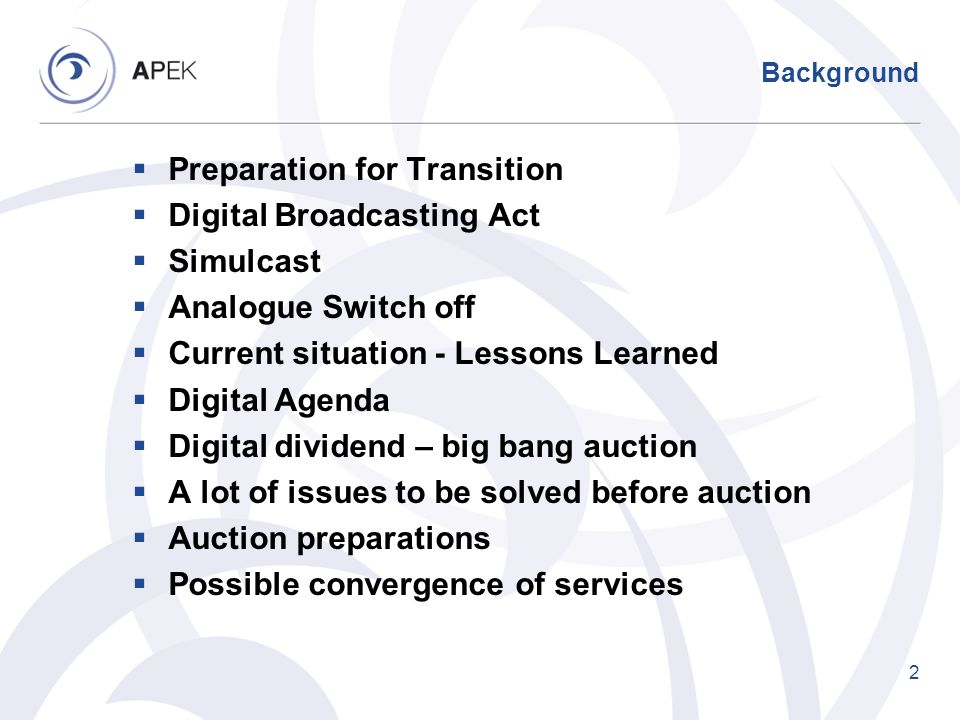 Preparation for Transition Digital Broadcasting Act Simulcast