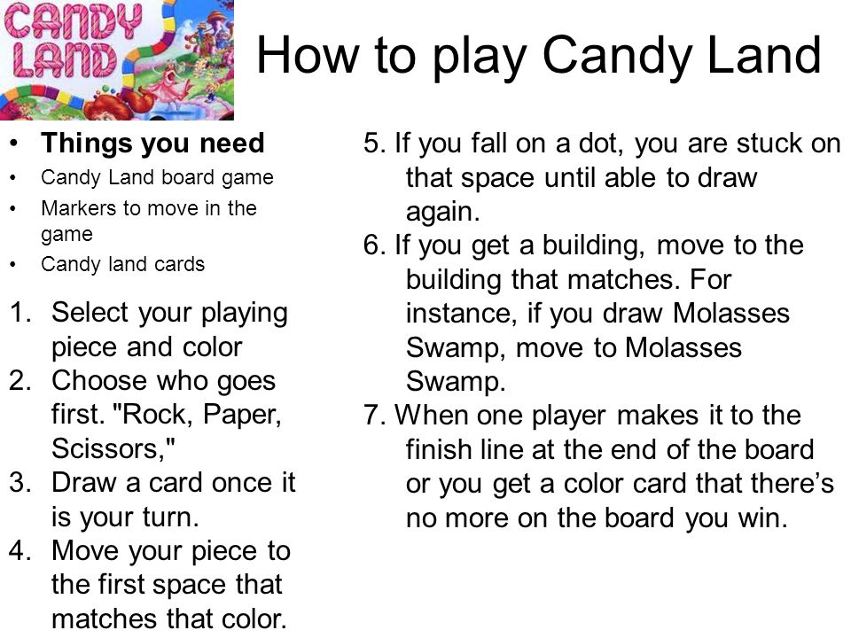 candyland board game instructions