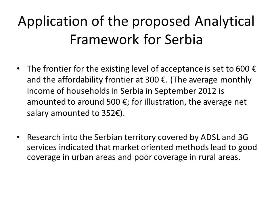Application of the proposed Analytical Framework for Serbia