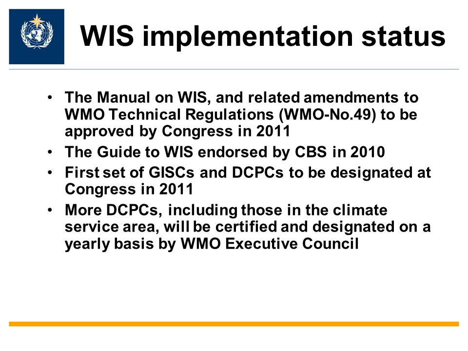 WIS implementation status