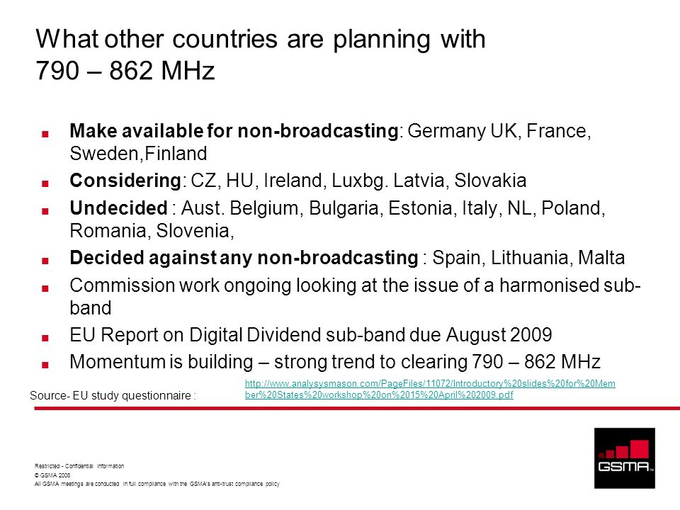 What other countries are planning with 790 – 862 MHz