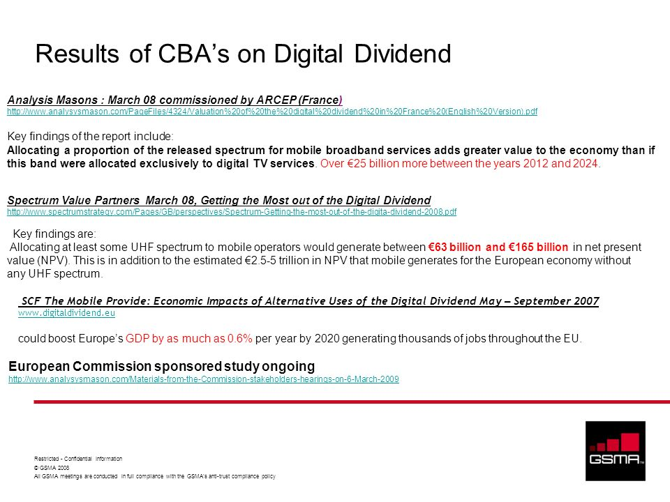 Results of CBA's on Digital Dividend
