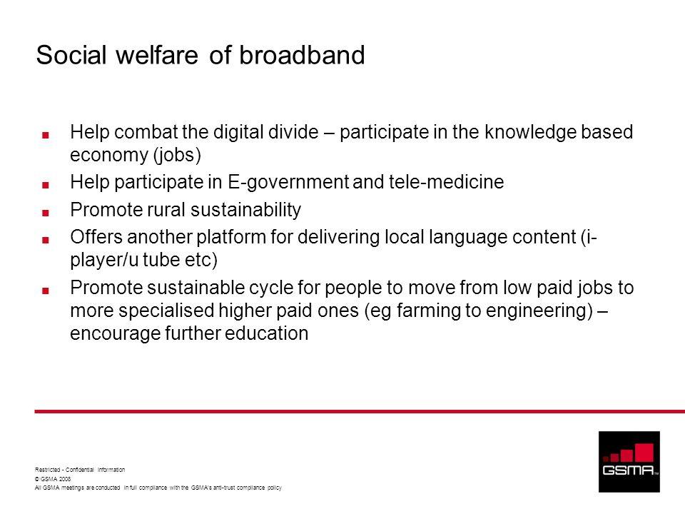 Social welfare of broadband