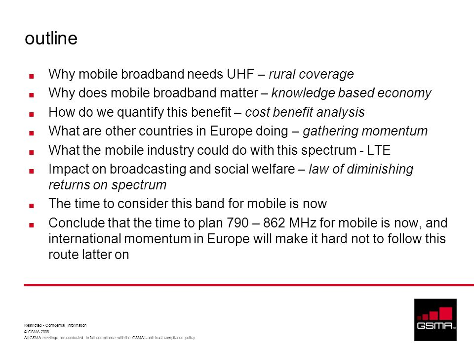 outline Why mobile broadband needs UHF – rural coverage