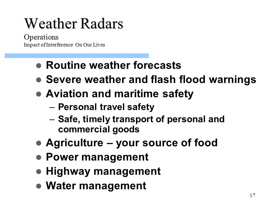 Weather Radars Operations Impact of Interference On Our Lives