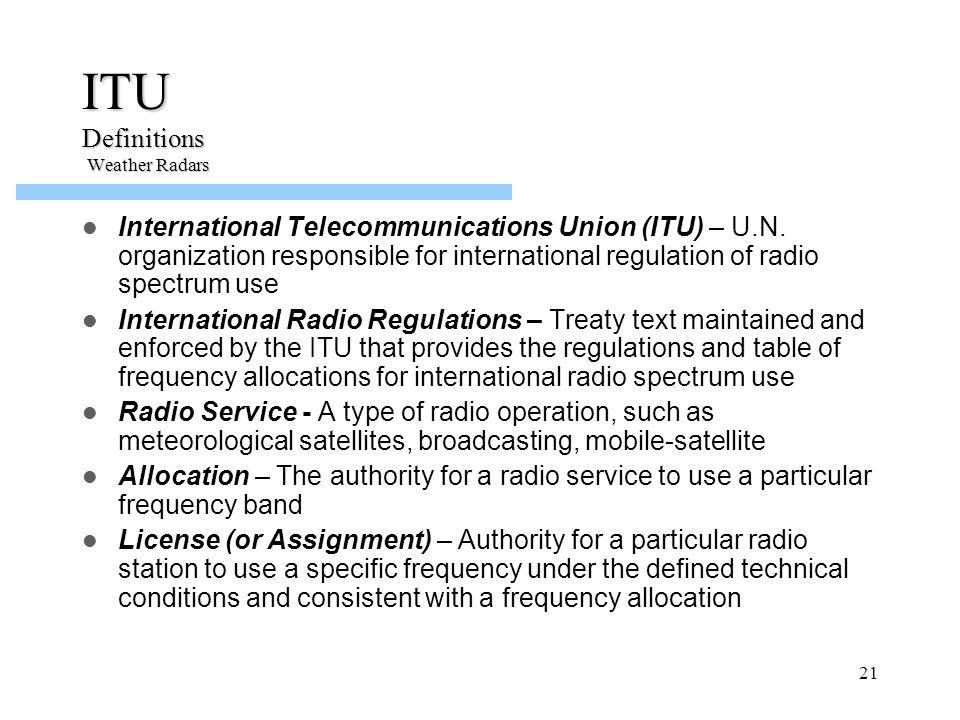 ITU Definitions Weather Radars