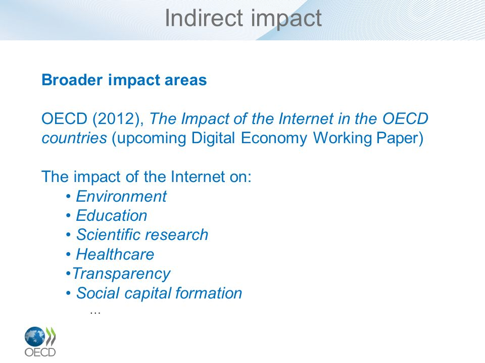 Indirect impact Broader impact areas