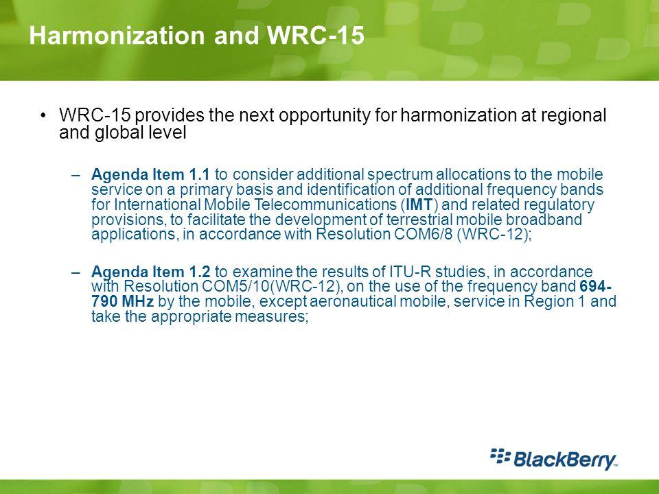 Harmonization and WRC-15