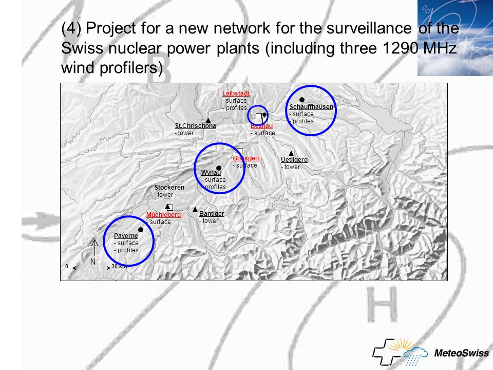 (4) Project for a new network for the surveillance of the Swiss nuclear power plants (including three 1290 MHz wind profilers)