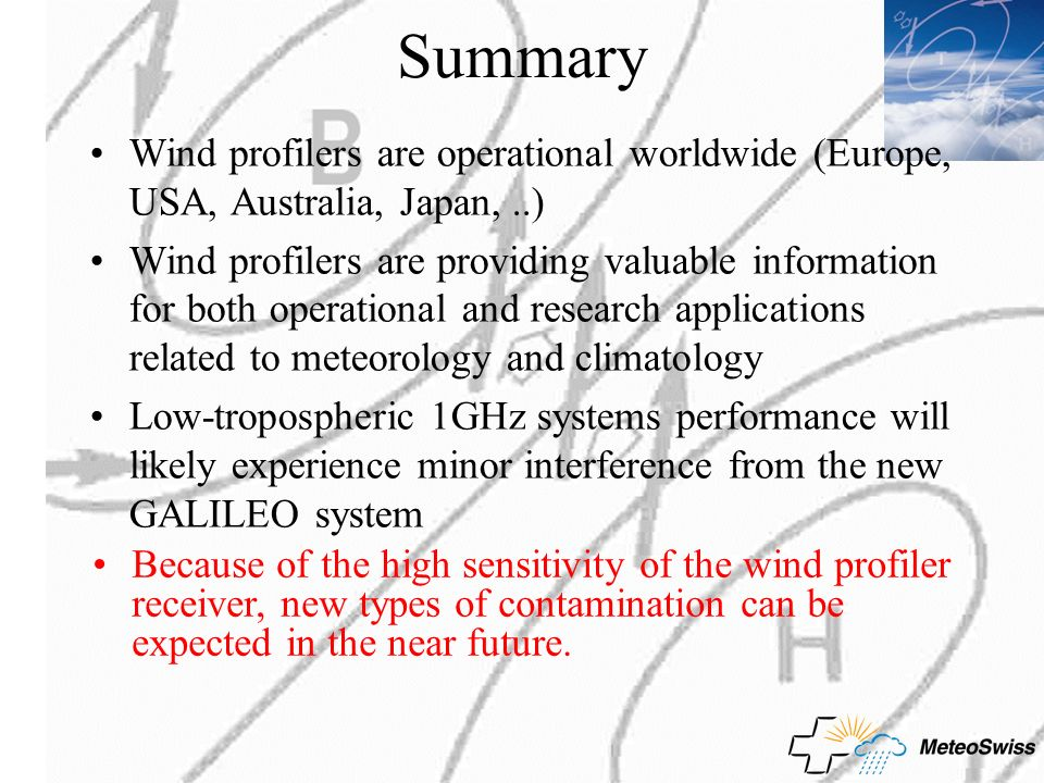Summary Wind profilers are operational worldwide (Europe, USA, Australia, Japan, ..)