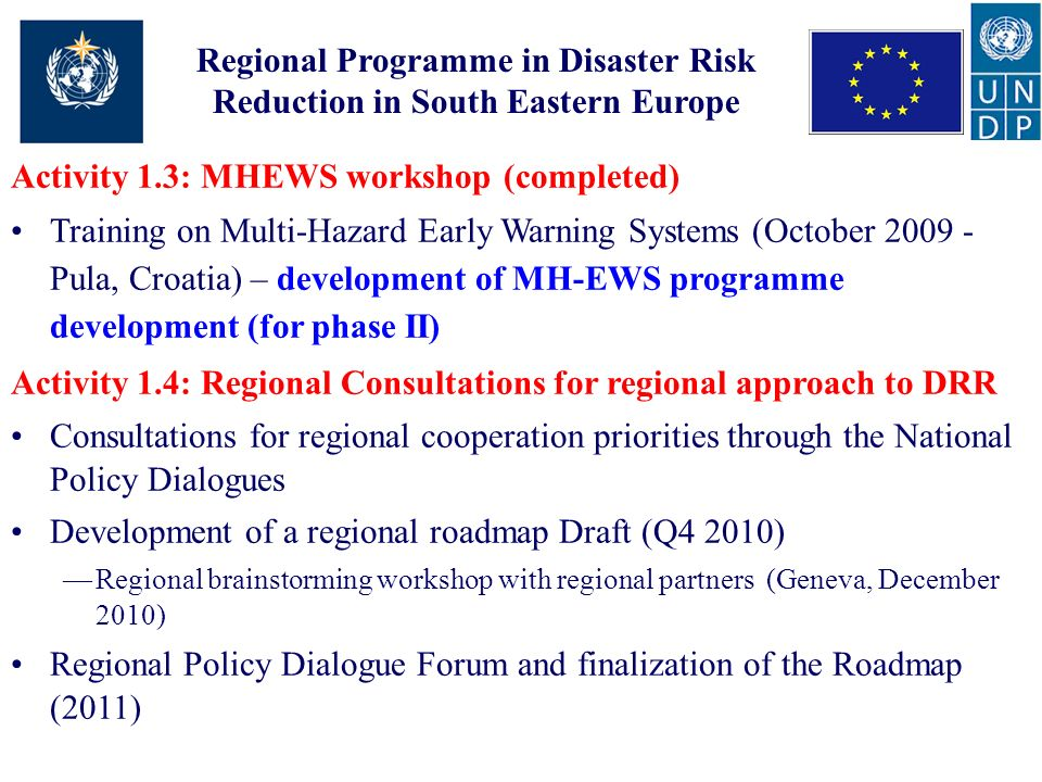 Regional Programme in Disaster Risk Reduction in South Eastern Europe