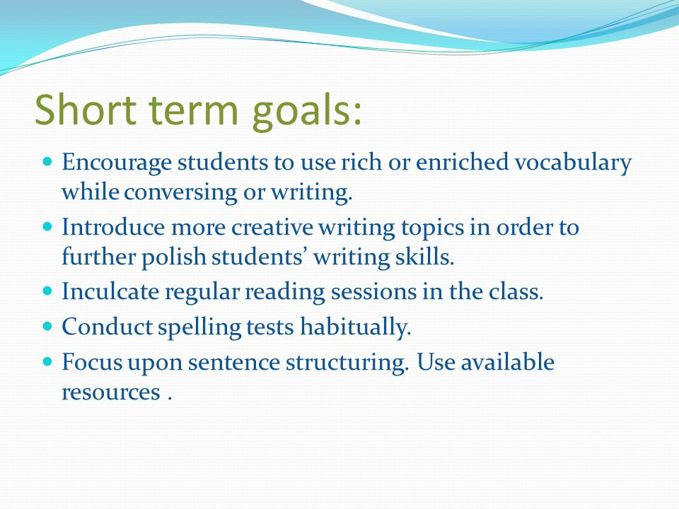 Short tem goals to list on scholarship essay