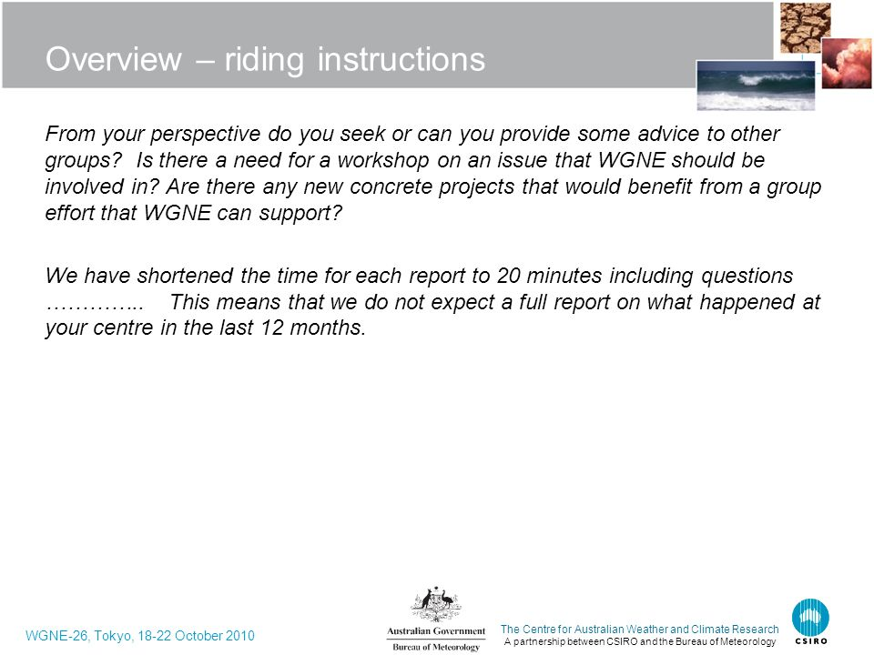 Overview – riding instructions