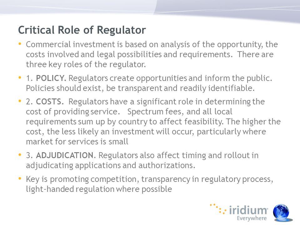 Critical Role of Regulator