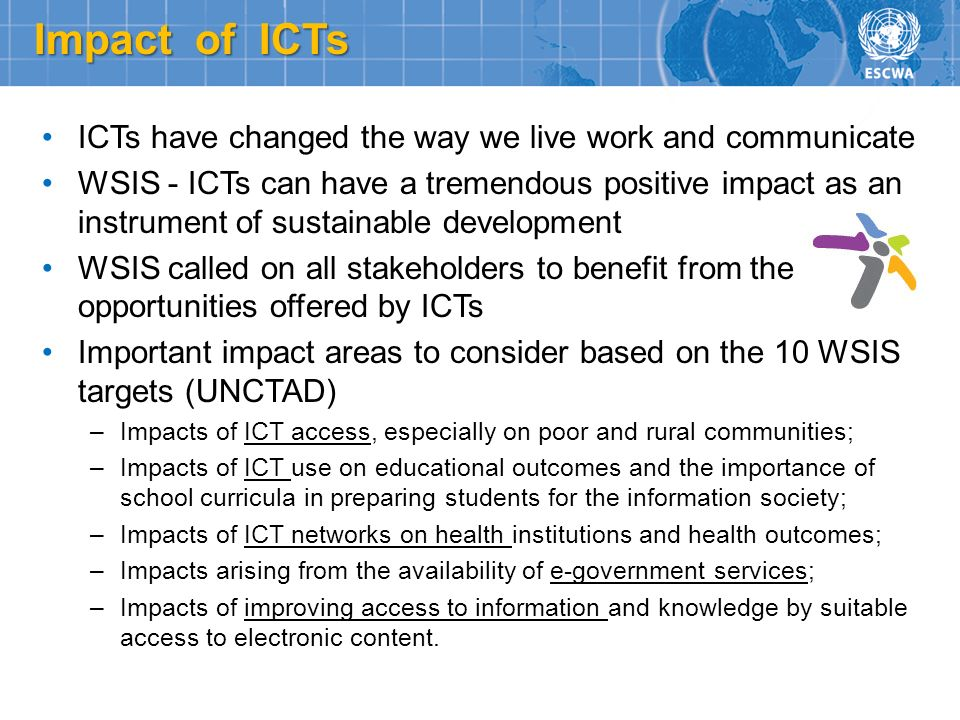 Impact of ICTs ICTs have changed the way we live work and communicate