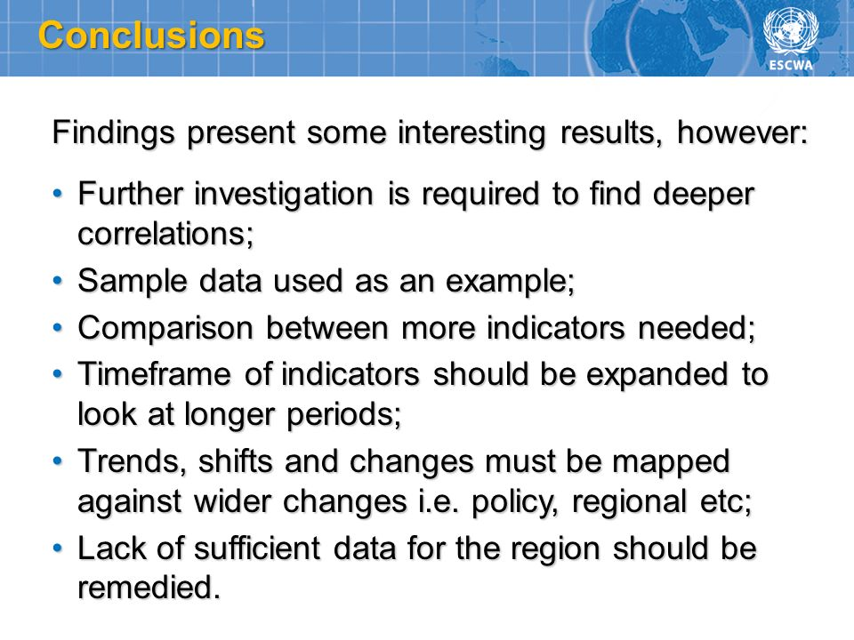 Conclusions Findings present some interesting results, however:
