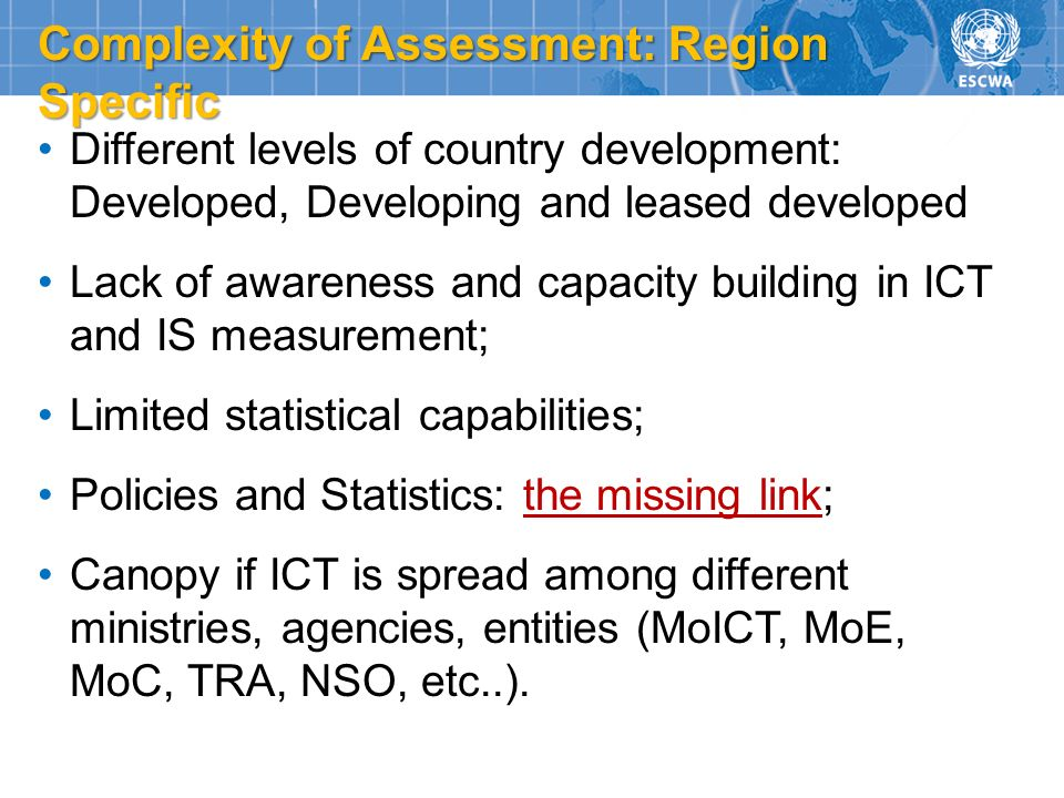 Complexity of Assessment: Region Specific