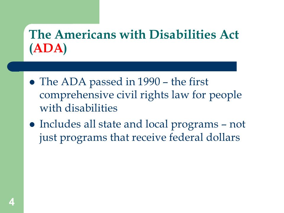 an analysis of the americans with disability act ada of 1990 Americans with disabilities act 1990 as a person with a disability it is my responsibility to be sure the laws enacted to support me are followed.