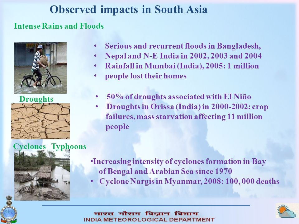 Observed impacts in South Asia