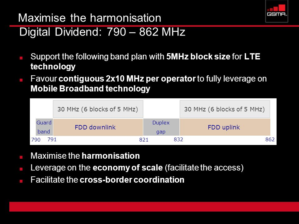 Maximise the harmonisation Digital Dividend: 790 – 862 MHz