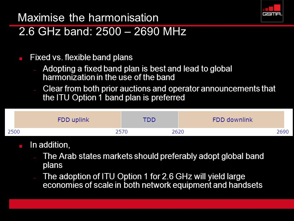 Maximise the harmonisation 2.6 GHz band: 2500 – 2690 MHz
