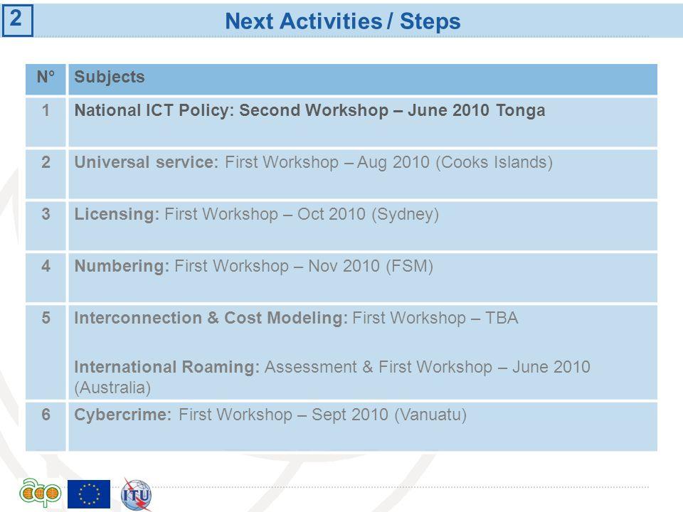 Next Activities / Steps