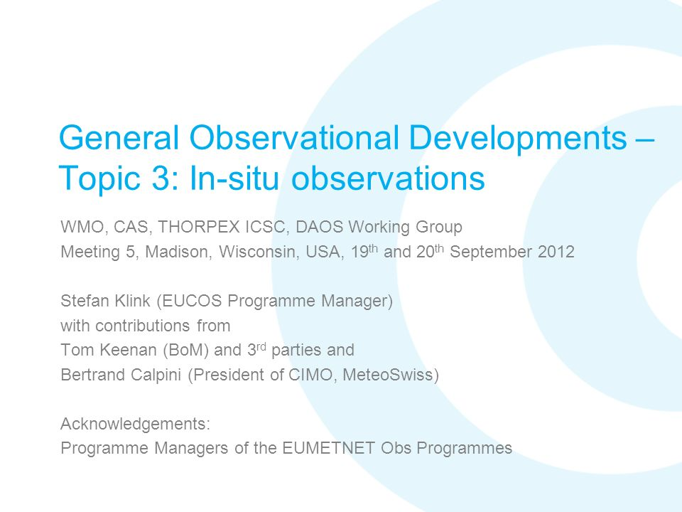 General Observational Developments – Topic 3: In-situ observations