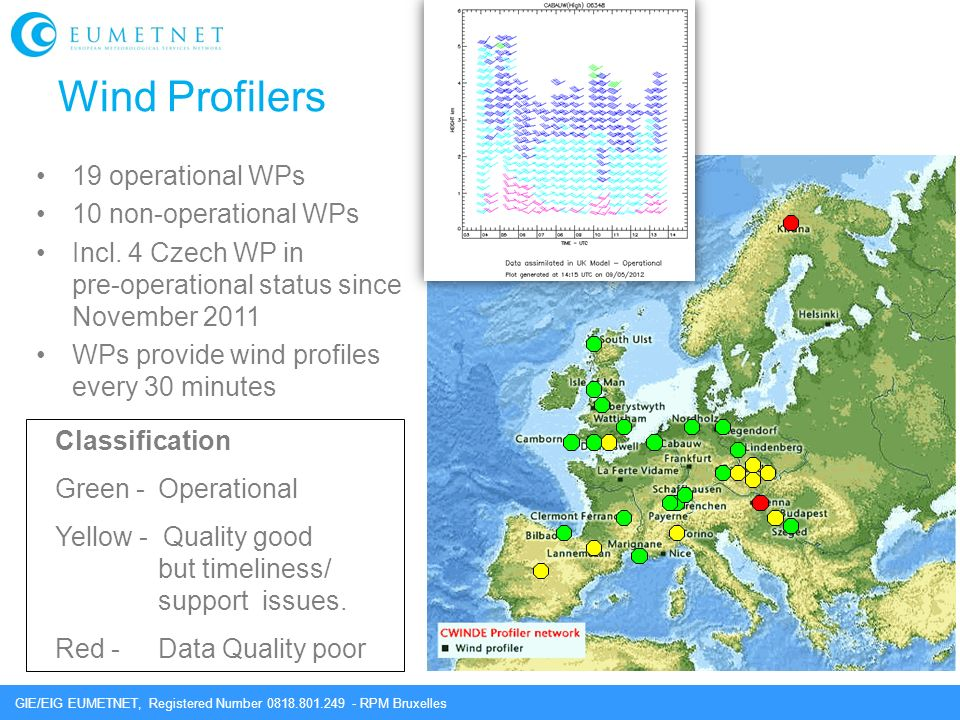 Wind Profilers 19 operational WPs 10 non-operational WPs