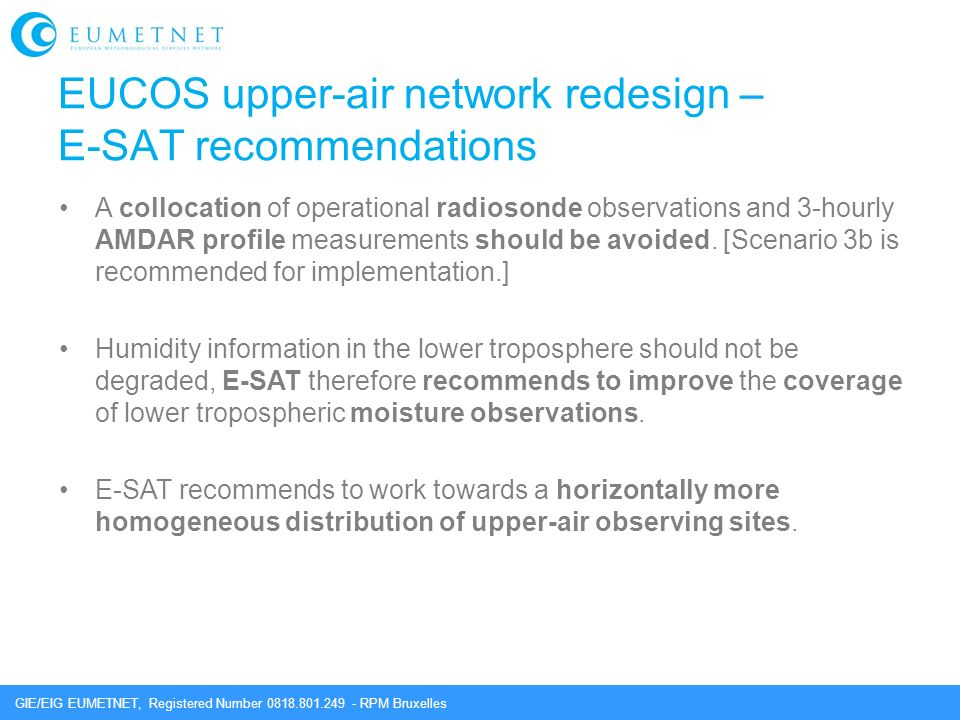 EUCOS upper-air network redesign – E-SAT recommendations