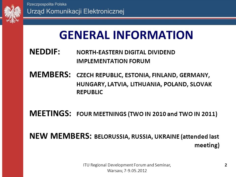 ITU Regional Development Forum and Seminar, Warsaw, 7-9.05.2012
