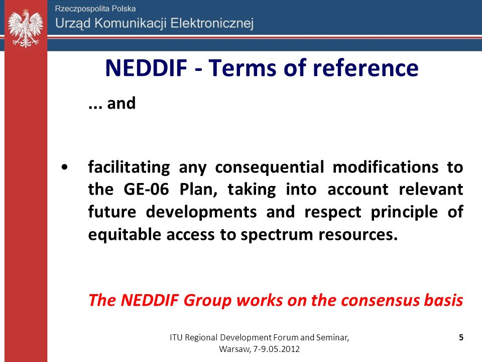 NEDDIF - Terms of reference