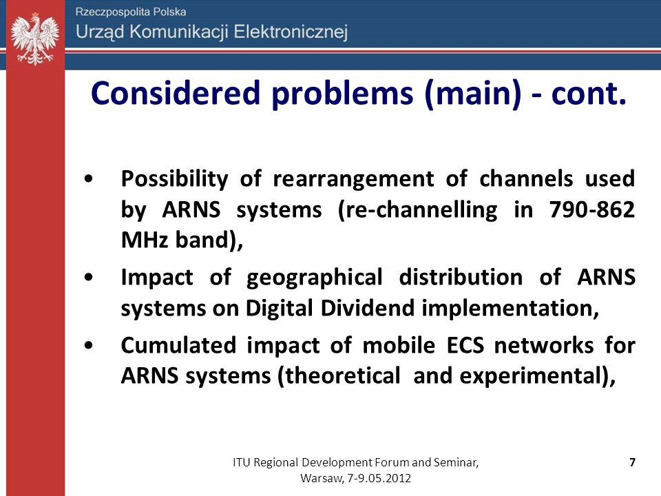 Considered problems (main) - cont.