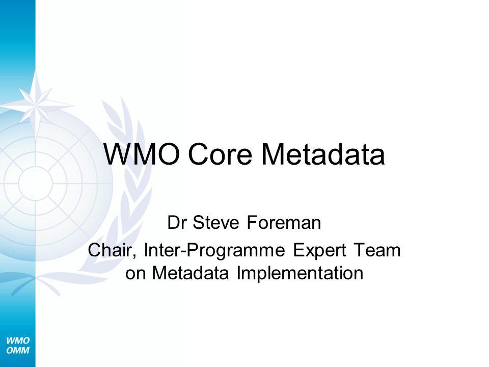 Chair, Inter-Programme Expert Team on Metadata Implementation