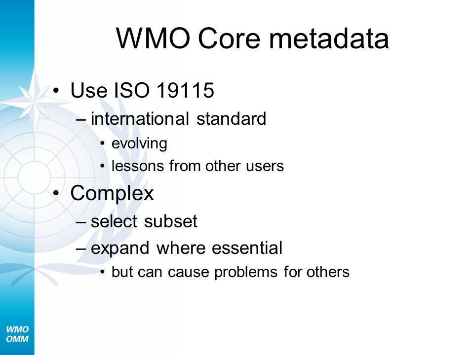 WMO Core metadata Use ISO 19115 Complex international standard