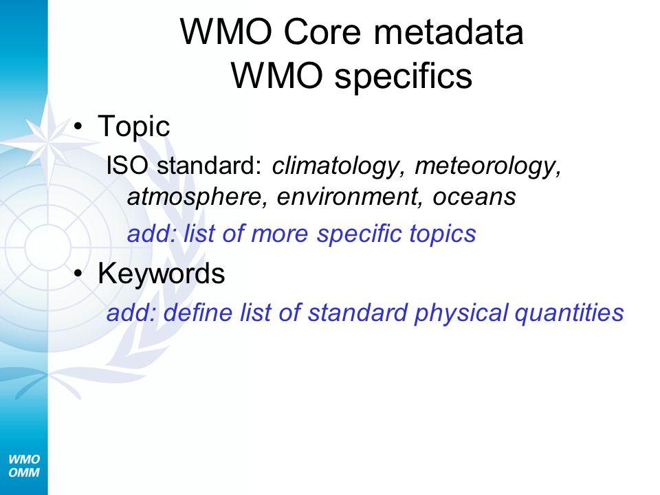 WMO Core metadata WMO specifics