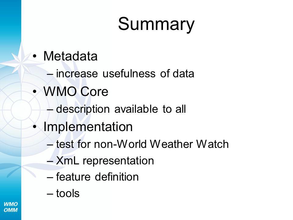 Summary Metadata WMO Core Implementation increase usefulness of data