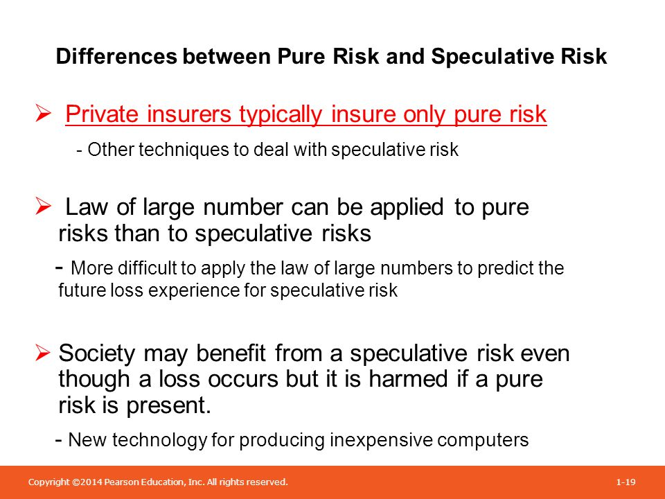 speculative risk vs pure risk Ch 1 pure risk, speculative risk diversifiable risk , enterprise risk degree of risk or objective risk (calculation and concept) ch 2 law of large numbers, expected loss, and social insurance ch 3 self-insurance, captive insurer, risk management steps, risk management matrix ch 4.