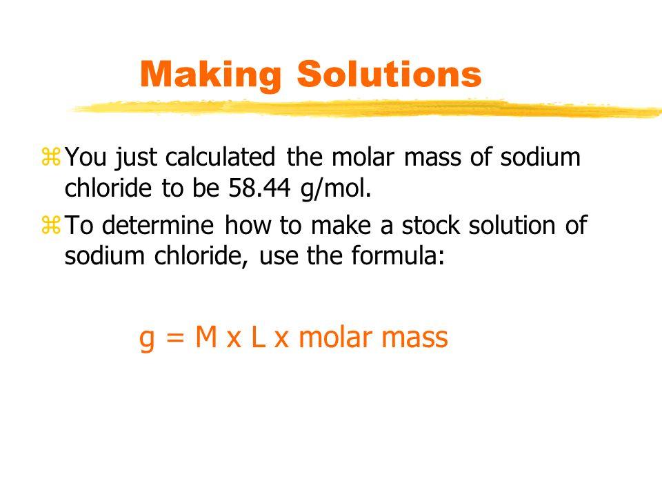 Making Solutions g = M x L x molar mass