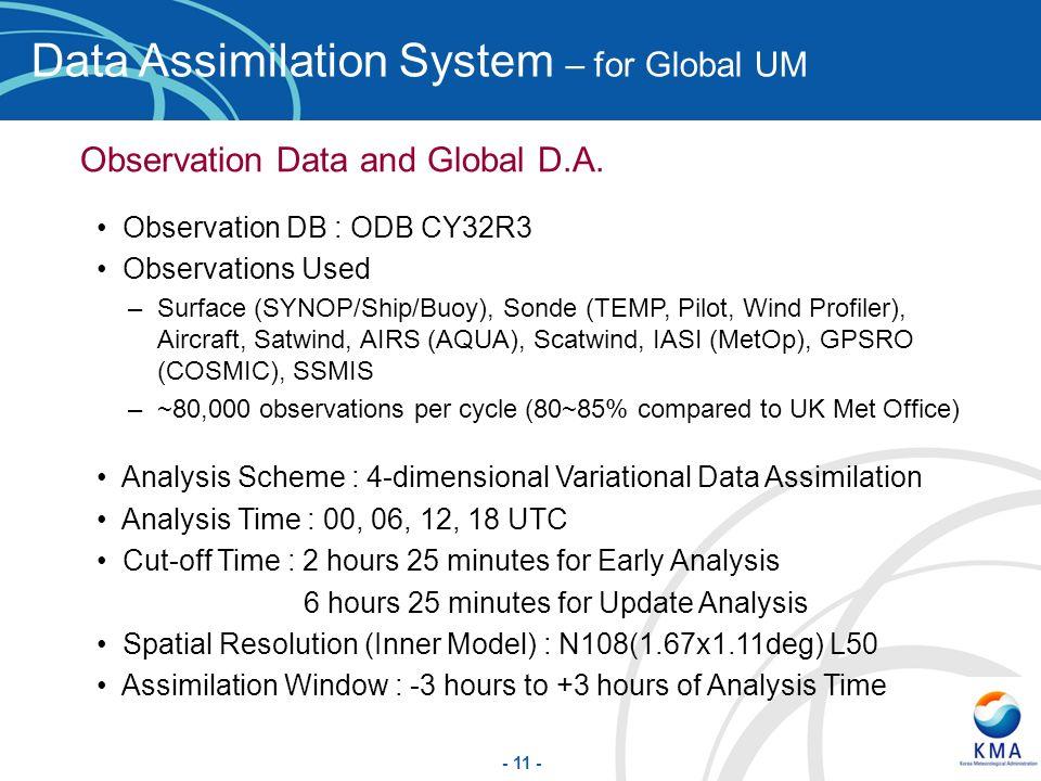 Data Assimilation System – for Global UM
