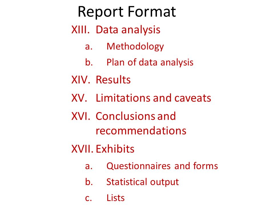 Report Format Data Analysis Results Limitations And Caveats  Data Analysis Format
