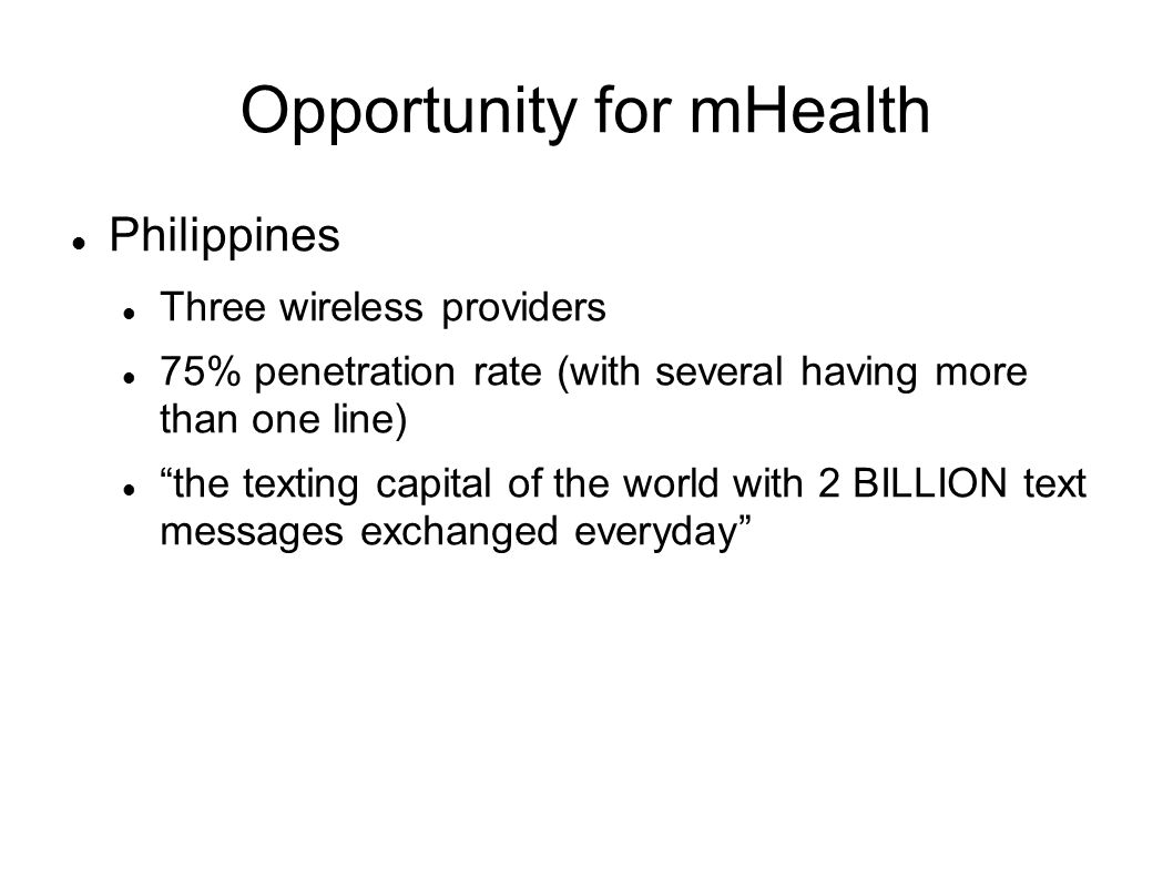 Opportunity for mHealth