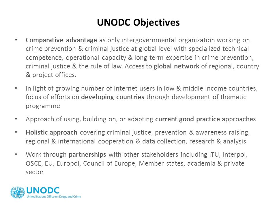 UNODC Objectives