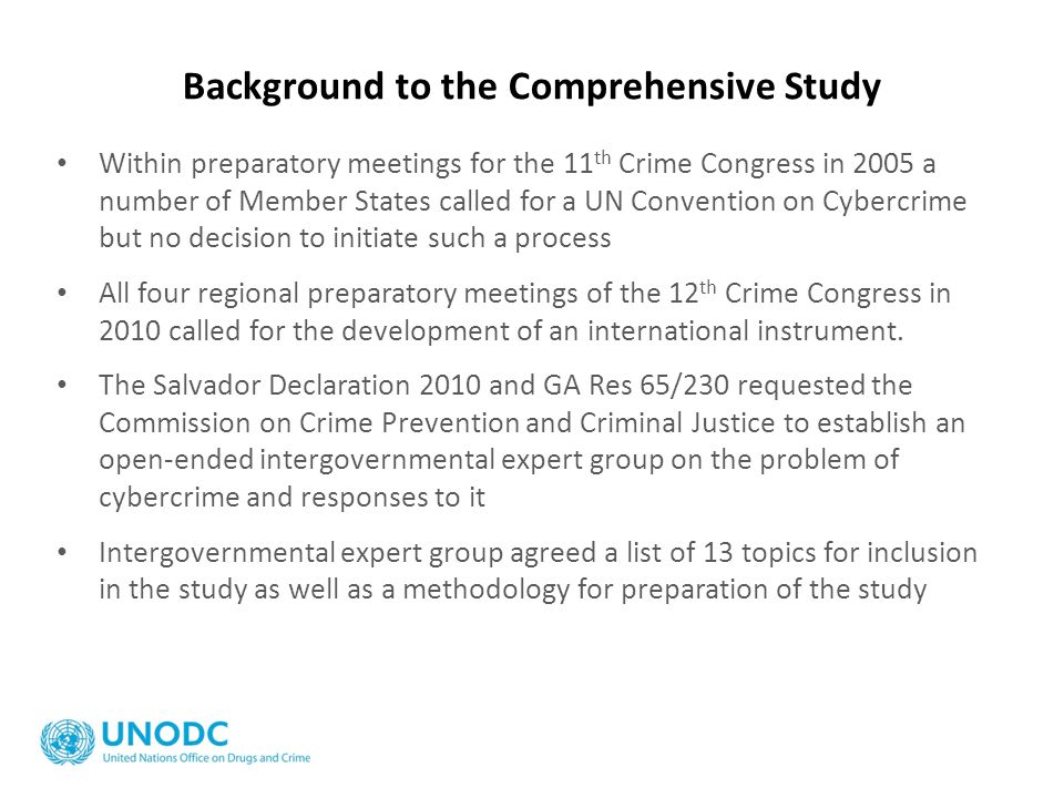 Background to the Comprehensive Study