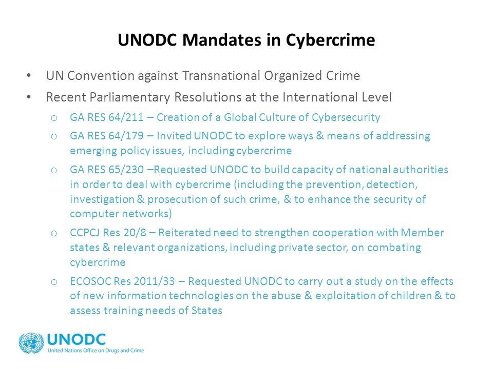 UNODC Mandates in Cybercrime