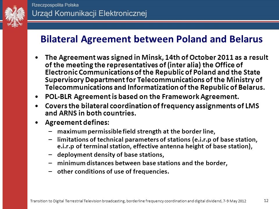 Bilateral Agreement between Poland and Belarus