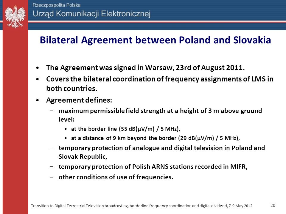 Bilateral Agreement between Poland and Slovakia