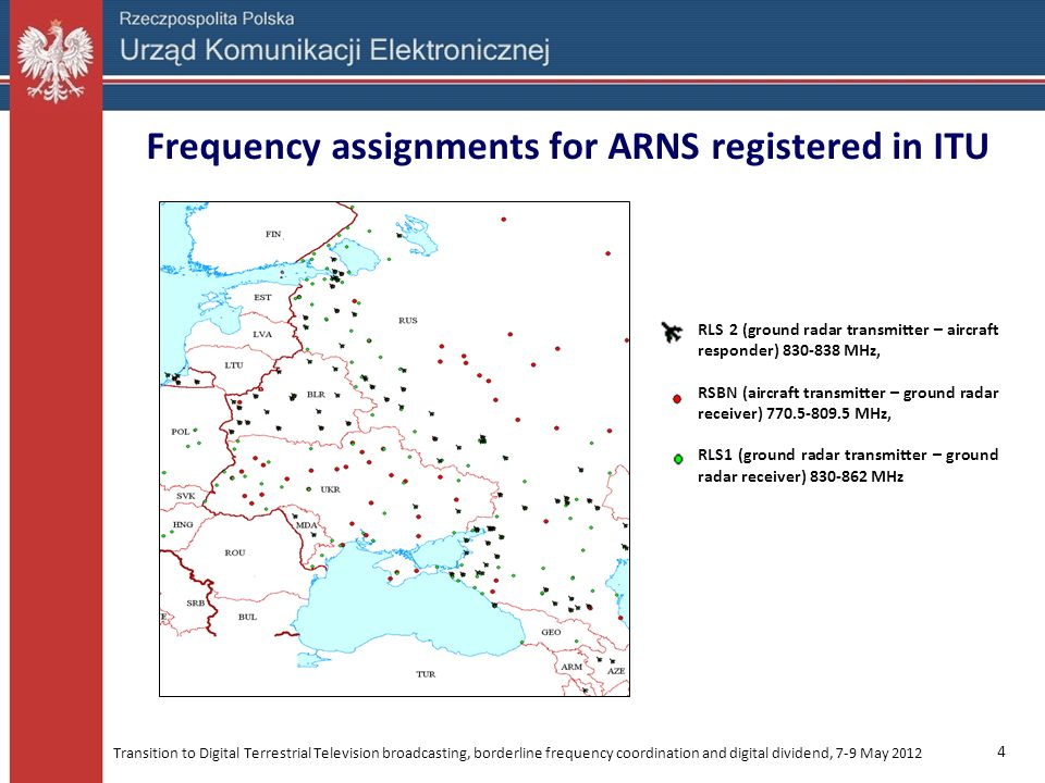 Frequency assignments for ARNS registered in ITU