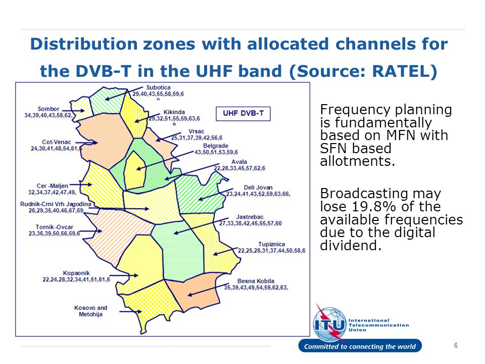 Distribution zones with allocated channels for the DVB-T in the UHF band (Source: RATEL)
