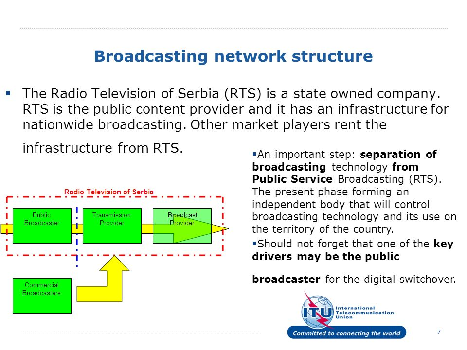 Broadcasting network structure